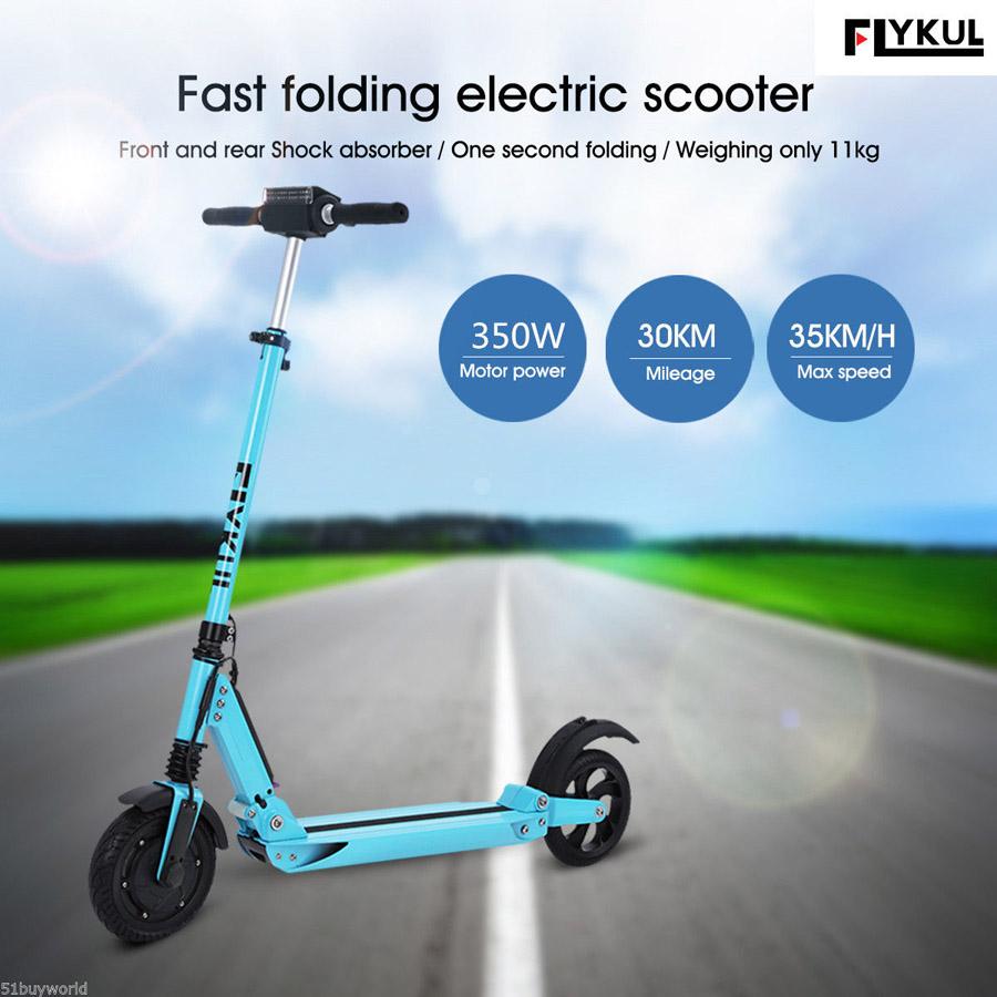 Trottinette électrique Flykul 350W bleue